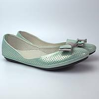 Балетки бірюзові літні шкіряні жіноче взуття великих розмірів Scarbat V Turquois Perl Perf BS Rosso Avangard, фото 1