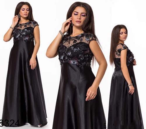 Вечернее длинное платье с коротким рукавом (черный) 828324