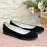 Женские черные туфли на низком ходу, натуральная замша., фото 3