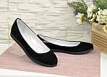 Женские черные туфли на низком ходу, натуральная замша., фото 5