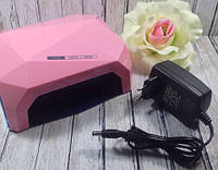 Лампа для маникюра Diamond 36W Пастельно-розовая LED+CCFL, фото 1