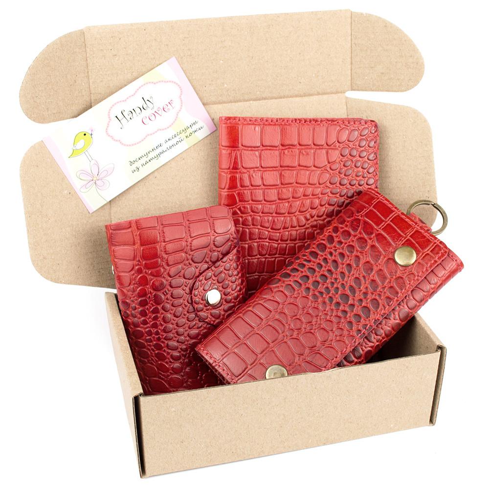Подарочный набор №29: Обложка на паспорт + ключница + визитница (красный крокодил)