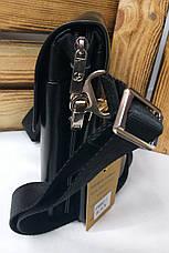 Маленькая мужская сумка черного цвета на три отдел, с клапаном на магнитах, 2 съемных ремешка, фото 2