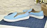 Туфли женские на утолщенной белой подошве из натуральной голубой кожи, фото 2
