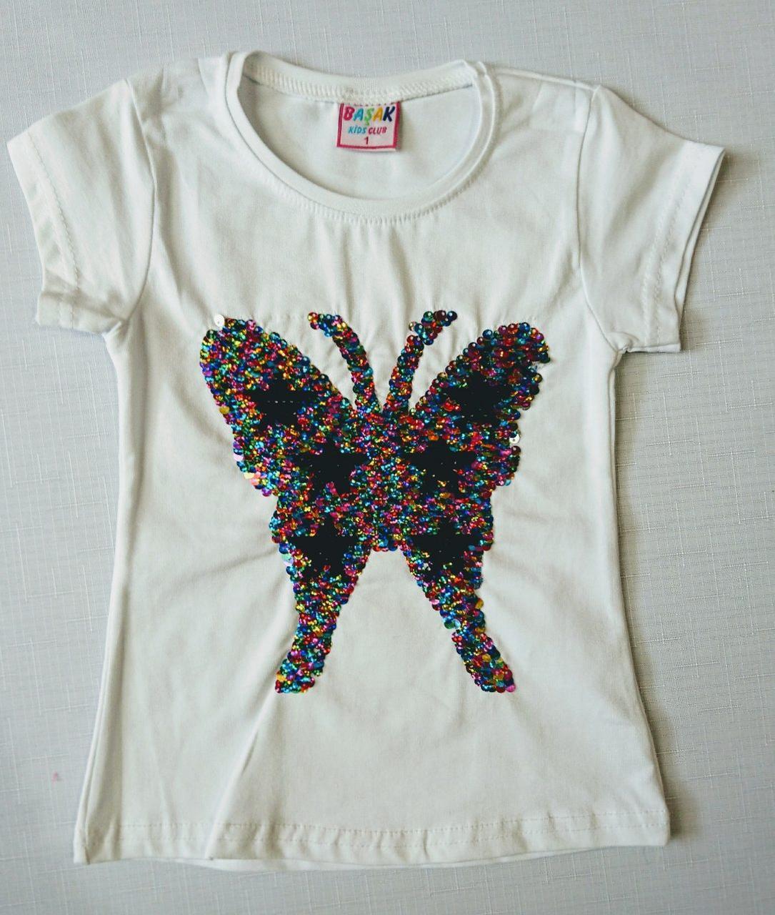 """Детская футболка летняя с паетками """" Бабочка """"  1-4"""