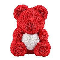 Мишка из 3D роз 40 см Красный с белым сердцем в лапках. В подарочной коробке.