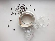 Стеклянный заварочный чайник Греческий стеклянные сито и крышка, 800 мл, фото 2