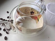 Стеклянный заварник Греческий стеклянное сито и крышка, 600 мл, фото 3