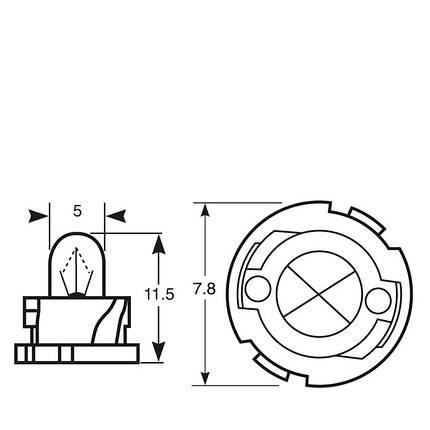 Автолампа ук. RING 509TFBK/12 12v 1.2w F4.8 (Black Base) Panel Bulb, фото 2