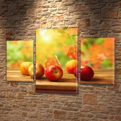 Модульная картина Спелые красные яблоки (осень, листья) на Холсте син., 45х70 см, (30x20-2/45x25)