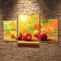 Модульная картина Спелые красные яблоки (осень, листья) на Холсте син., 45х70 см, (30x20-2/45x25), фото 1
