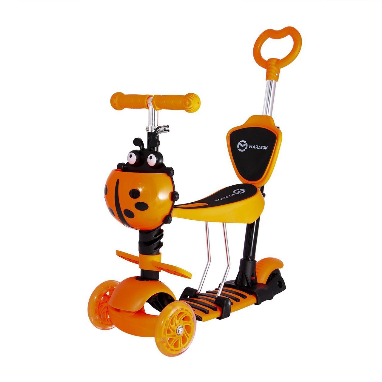 Детский самокат-беговел Maraton Swift трехколесный с родительской ручкой (оранжевый)