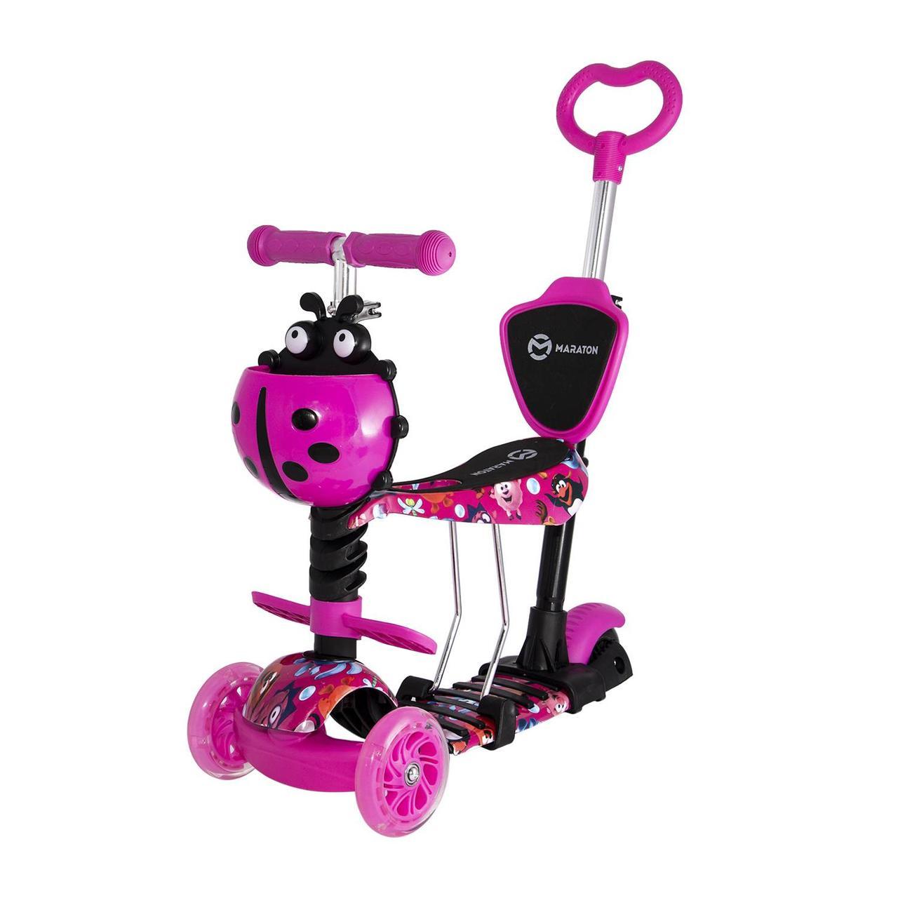 Детский самокат-беговел Maraton Fly трехколесный с корзиной и родительской ручкой (розовый)