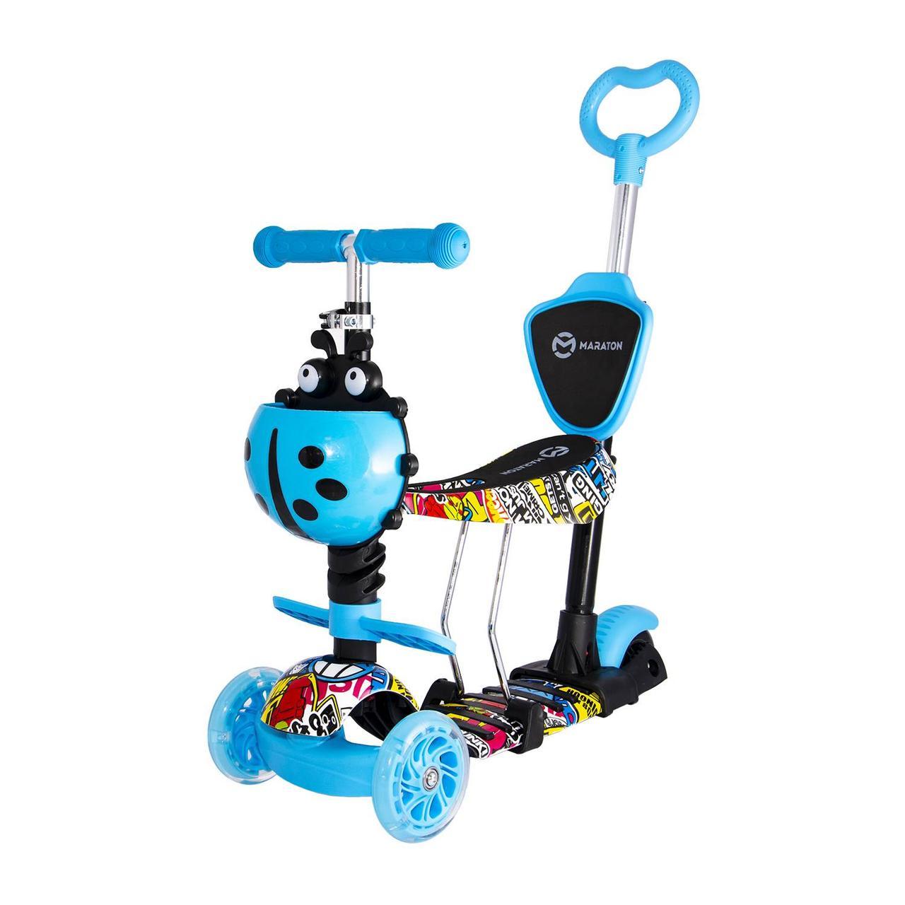 Детский самокат-беговел Maraton Fly трехколесный с корзиной и родительской ручкой (голубой Граффити)
