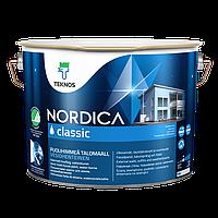 Краскадля дерева фасадная, акрилатная водоразбавляемая, Текнос Нордика классик (Teknos Nordica classic) 9 л