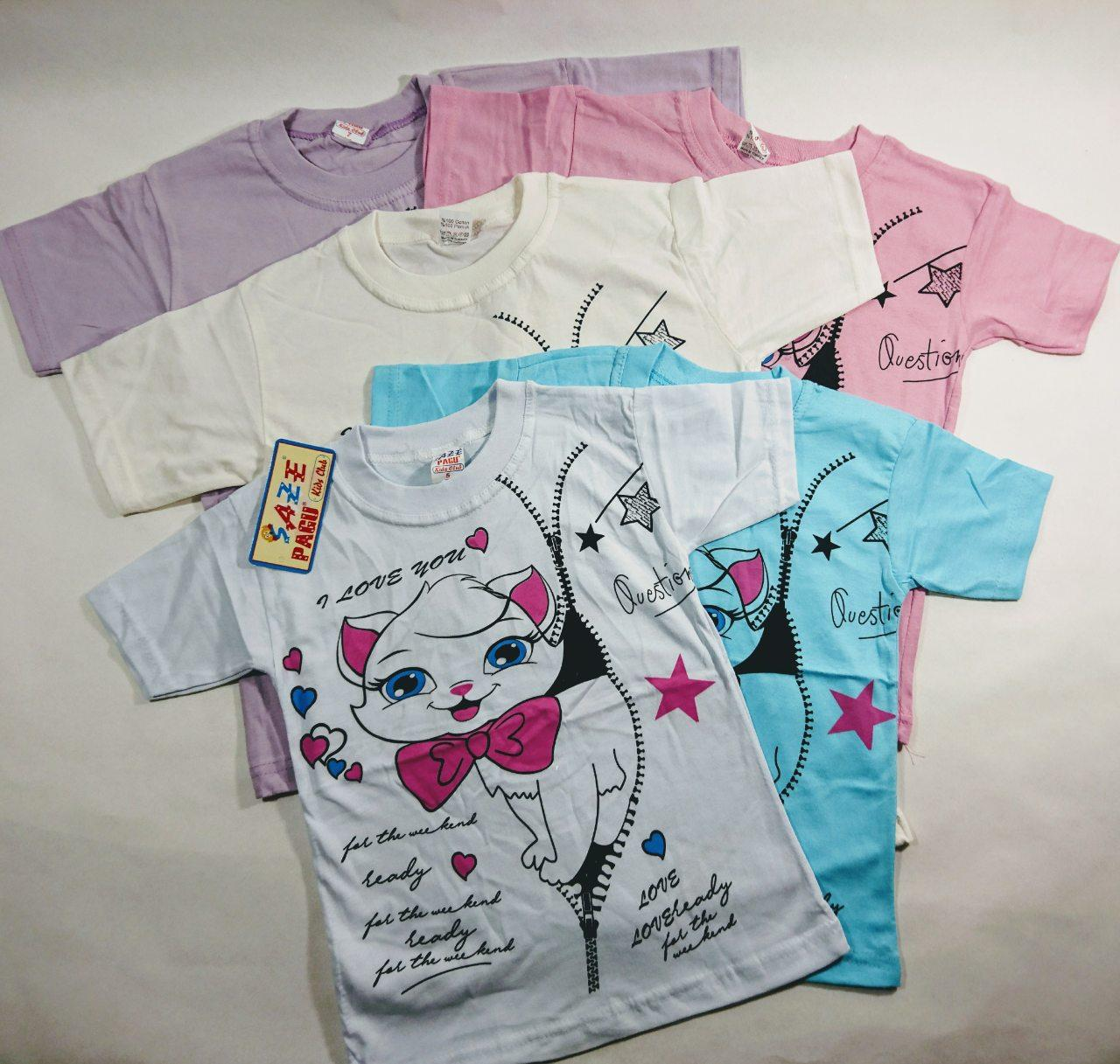 """Детская футболка летняя на девочку  """"Кошка с бантиком """" 4-8"""