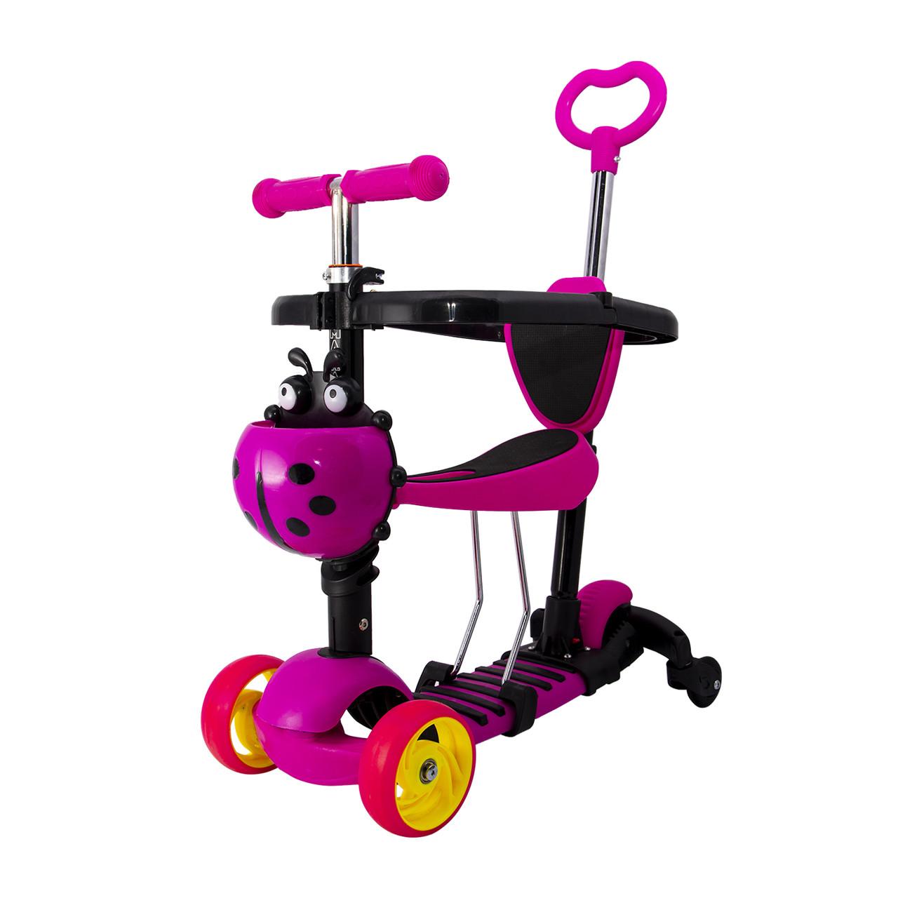 Детский самокат-беговел Maraton Onix Plus трехколесный с корзиной и родительской ручкой (розовый)