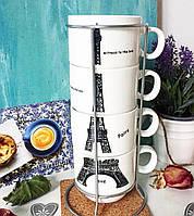 Набор чайных чашек на подставке Эйфель, 250 мл