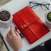 Кожаный блокнот Красный 120страниц недатированный планер ежедневник органайзер А5
