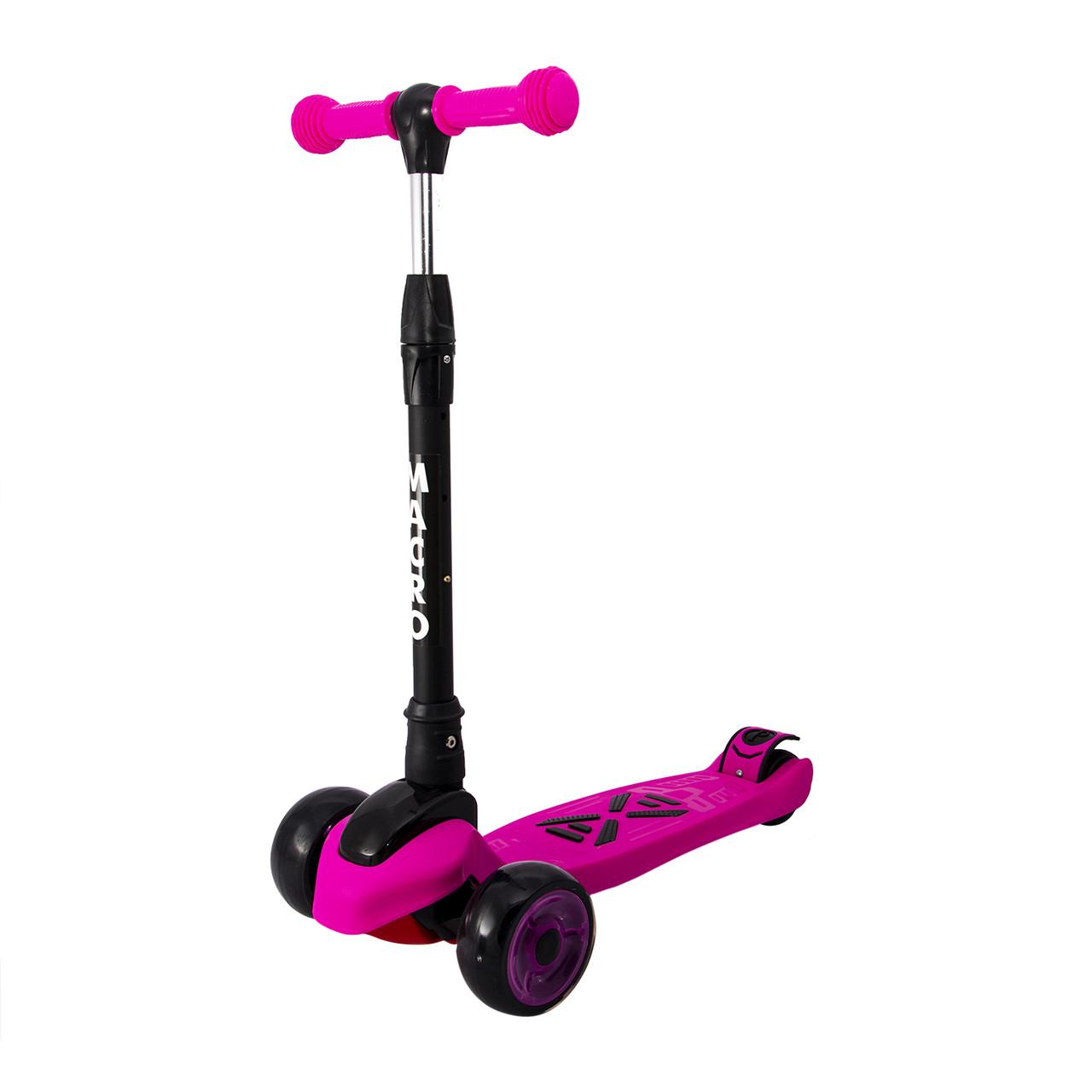 Детский трехколесный самокат Maraton Macro со светящимися колесами (розовый)