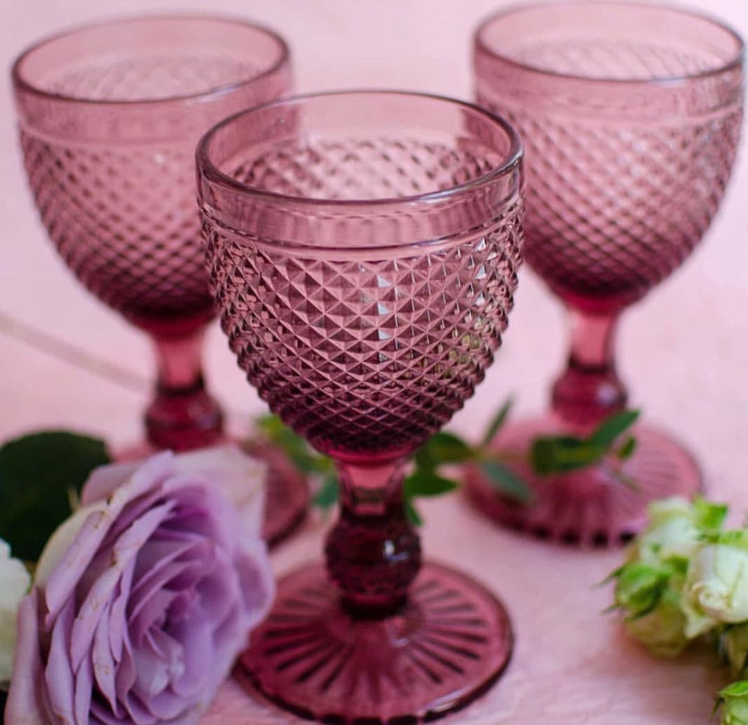 Винтажный бокал кубок Амбер розовый, 250 мл
