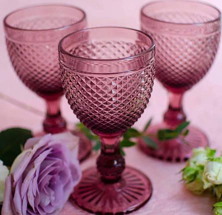 Винтажный бокал кубок Амбер розовый, 250 мл, фото 2