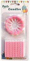 Набір Свічки для торта рожевий з підставкою (24 штук)