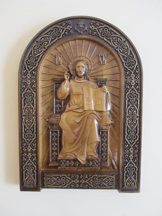 """Дерев'яна ікона """"Спас на престолі"""" 410х290мм"""