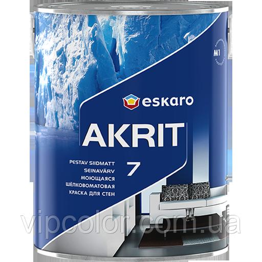 Eskaro Akrit 7 Белая 2,85 л Моющаяся шелково-матовая краска для стен