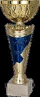 Кубок 7184/D, золотисто-синий, 24 см.