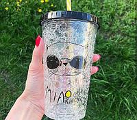 Пластиковый стакан с крышкой и трубочкой Спецагент, 550 мл