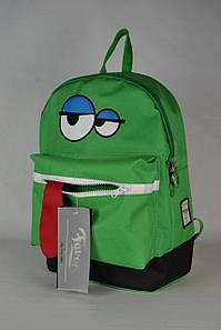 Молодіжний рюкзак зелений з очима і язиком   Молодежный, школьный ранец зеленый