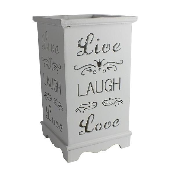 """Деревянный подсвечник """"Live. Laugh. Love"""", LED свеча, белый"""