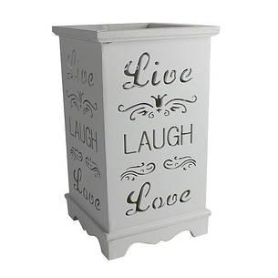 """Деревянный подсвечник """"Live. Laugh. Love"""", LED свеча, белый, фото 2"""