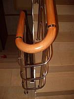 Перила из нержавейки с деревянным поручнем, фото 1