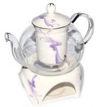 Стеклянный чайник Тень с фарфоровым ситом, крышечкой и подставкой, 600 мл, фото 3