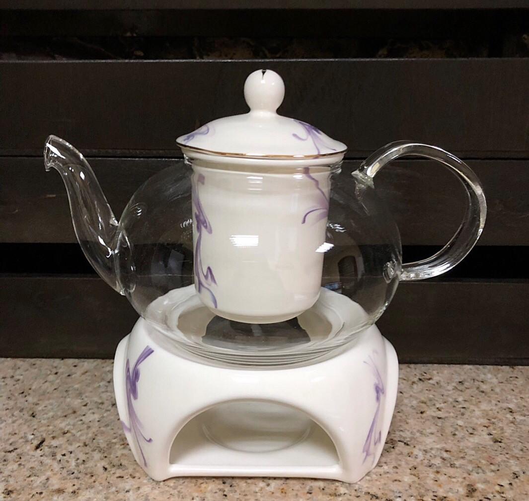 Стеклянный чайник Тень с фарфоровым ситом, крышечкой и подставкой, 600 мл