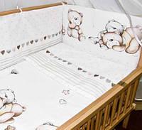 """Постельное белье для новорожденных  """"Ведмедики горошок""""  6ед.(Защита на всю кроватку, 2 части), фото 1"""