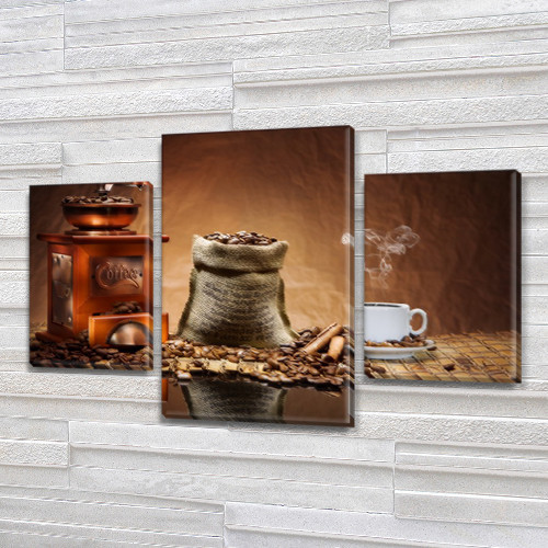 Модульная картина Мешочек кофе (зерна, кофемолка, чашка), на Холсте син., 45х70 см, (30x20-2/45x25)