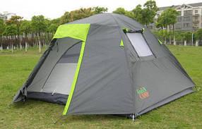 Туристическая палатка Green Camp 1013-4 Тамбур. 4-х местная. 2-х слойная