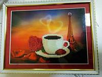 Картина бісером Кава в Парижі