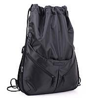 Рюкзак сумка мешок для сменной обуви черный тканевый спортивный городской с карманами Dolly 837 37х43х10 см