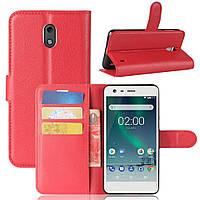 Чехол-книжка Litchie Wallet для Nokia 2 Красный