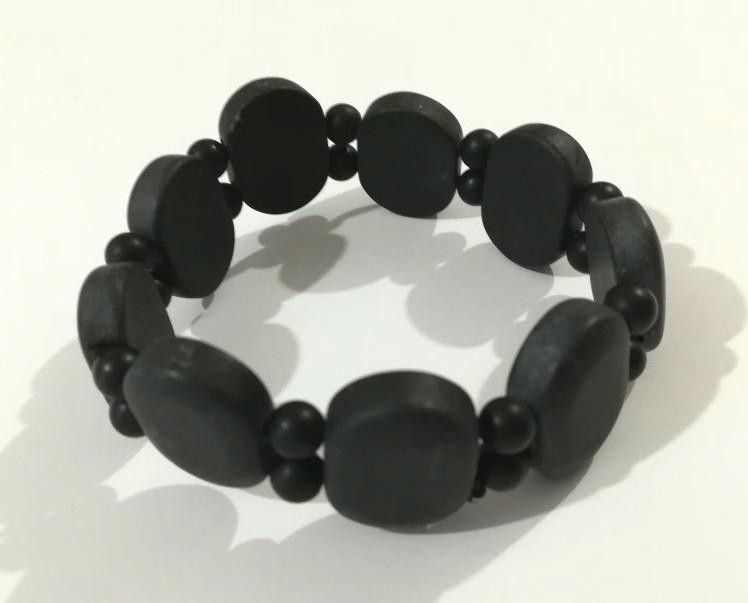 Браслет из Шунгита, натуральный камень, цвет черный, тм Satori \ Sb - 0197
