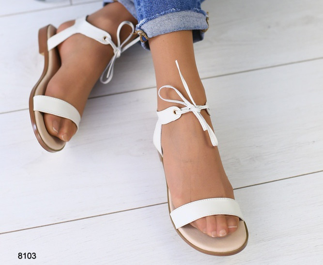 Кожаные босоножки женские, сандалии молочные