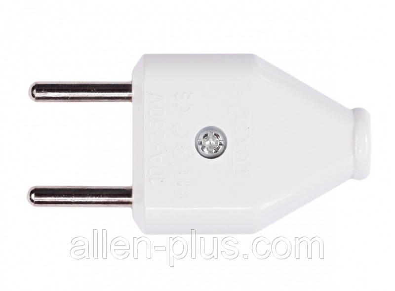 Вилка плоская без заземления LUXEL 1006, белая