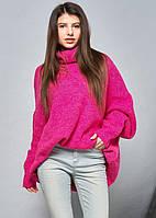 Объемный свитер oversize цвета фуксии с длинным рукавом. Модель 19826