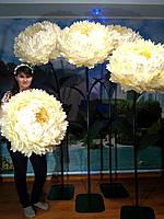 Пион белый на стойке Большие ростовые цветы из изолона, фото 1