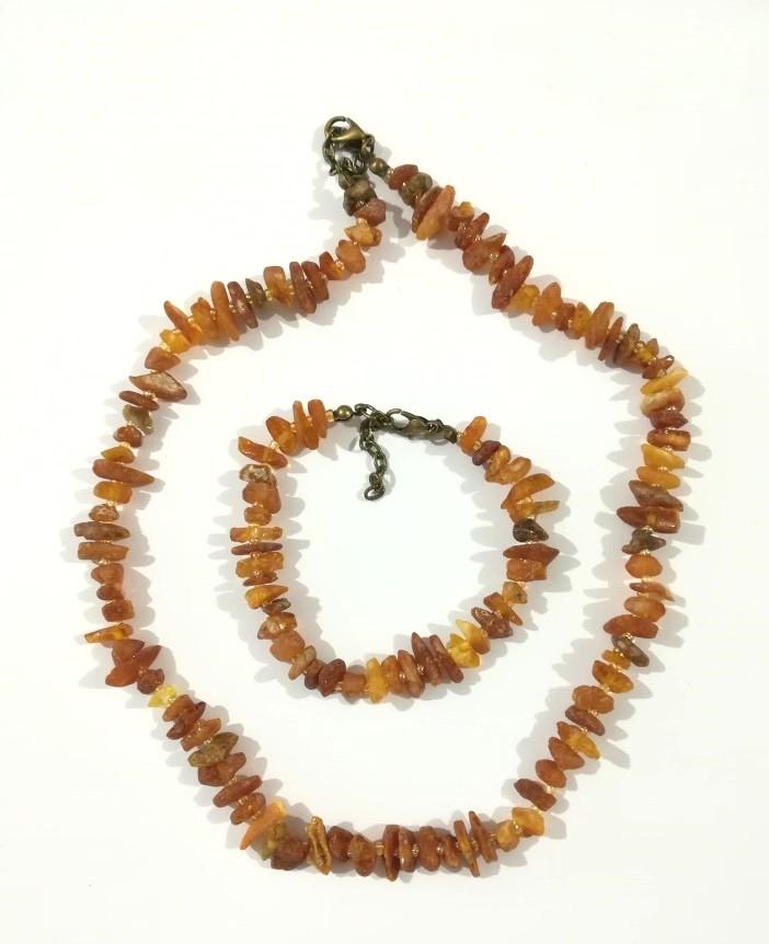 Комплект из Янтаря крошка, бусы - браслет , натуральный камень, бронза, тм Satori \ Sn - 0015
