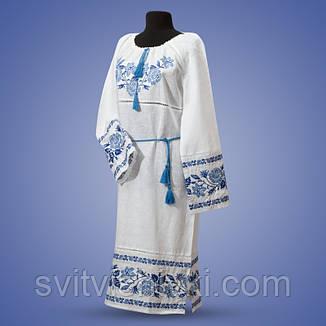 Вышитое платье на белом полотне с длиным рукавом, фото 2